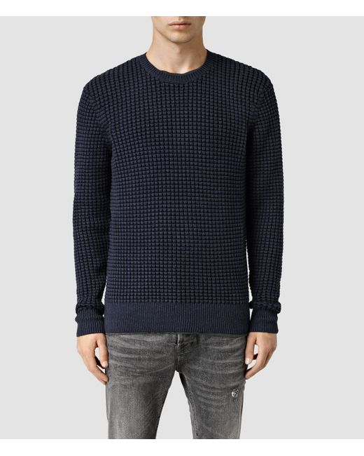 AllSaints | Blue Eydon Crew Sweater Usa Usa for Men | Lyst