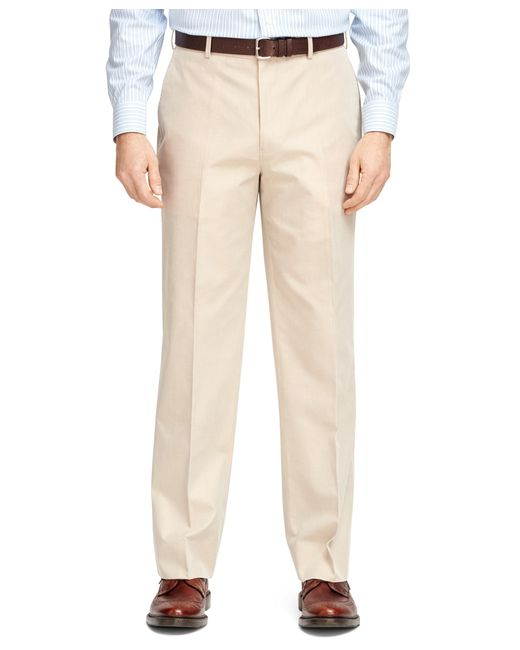 Brooks Brothers | Natural Madison Fit Plain-front Cotton Dress Trousers for Men | Lyst
