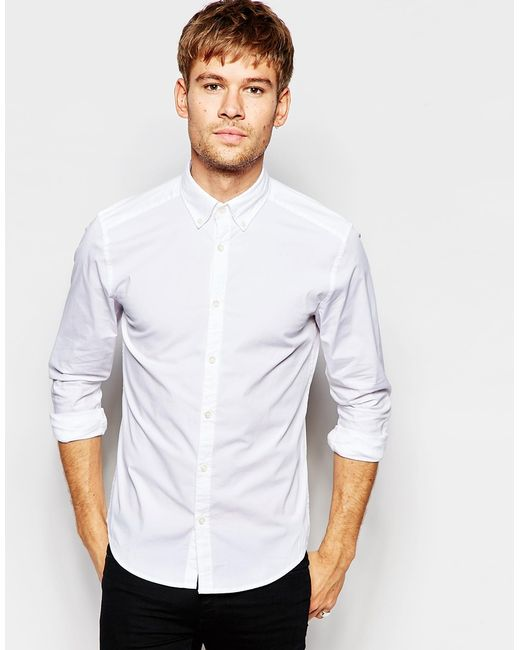 Esprit shirt with button down collar in regular fit in for White button down collar shirt