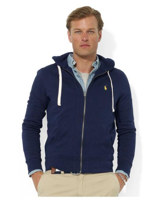 polo ralph lauren blue men 39 s hoodie core full zip hooded fleece for. Black Bedroom Furniture Sets. Home Design Ideas