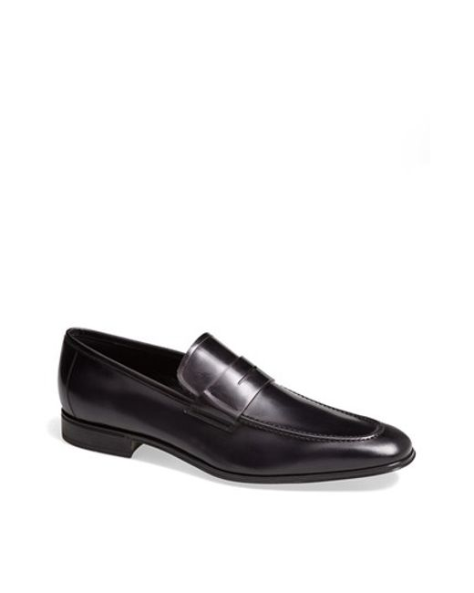 Ferragamo | Black Rocco Leather Penny Loafer for Men | Lyst