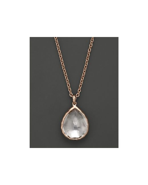 Ippolita | Pink Rosé Rocky Candy Teardrop Pendant Necklace In Clear Quartz, 16"