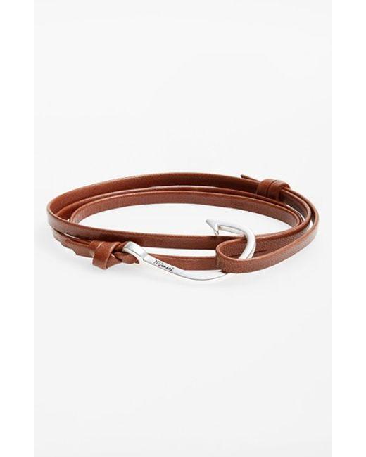 Miansai | Brown Silver Hook Leather Bracelet for Men | Lyst