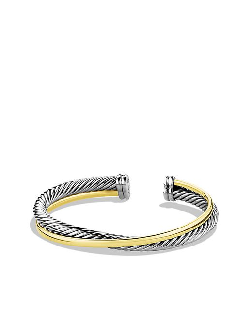 David Yurman | Metallic Crossover Cuff Bracelet With 18k Gold, 5mm | Lyst