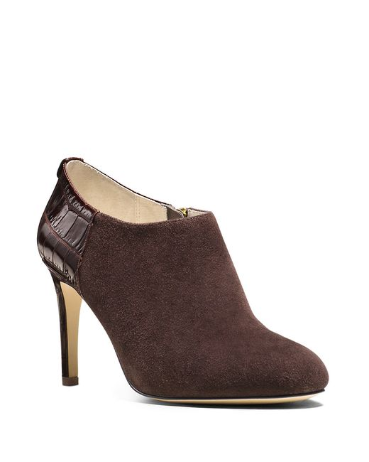 MICHAEL Michael Kors | Brown Sammy Suede And Crocodile-embossed Ankle Boots | Lyst