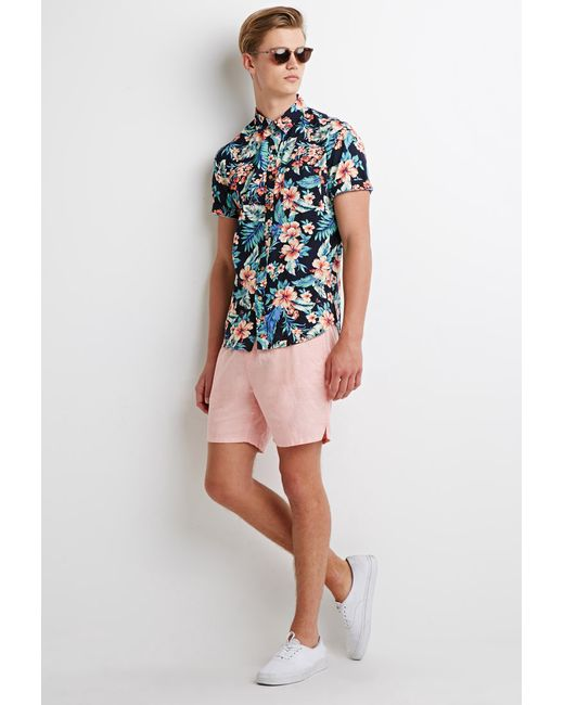 Forever 21 | Pink Linen-blend Drawstring Shorts You've Been Added To The Waitlist for Men | Lyst
