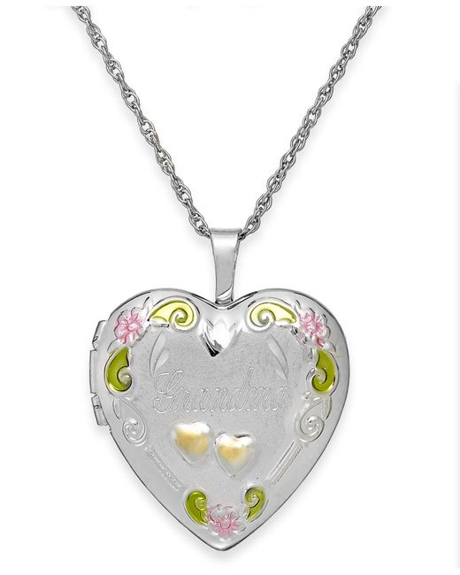 Macy's | Metallic Grandma Painted Heart Locket In Sterling Silver | Lyst