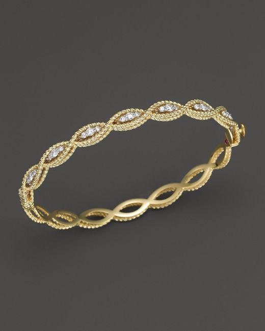Roberto Coin   Metallic 18k Yellow Gold New Barocco Diamond Bangle   Lyst