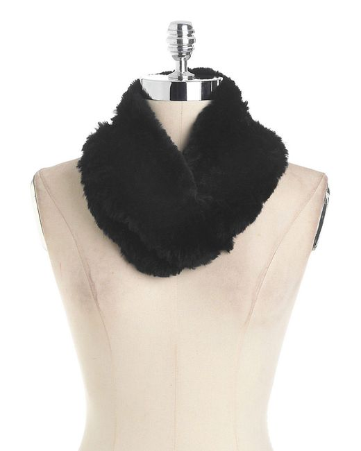 Surell | Black Rex Rabbit Fur Infinity Scarf | Lyst