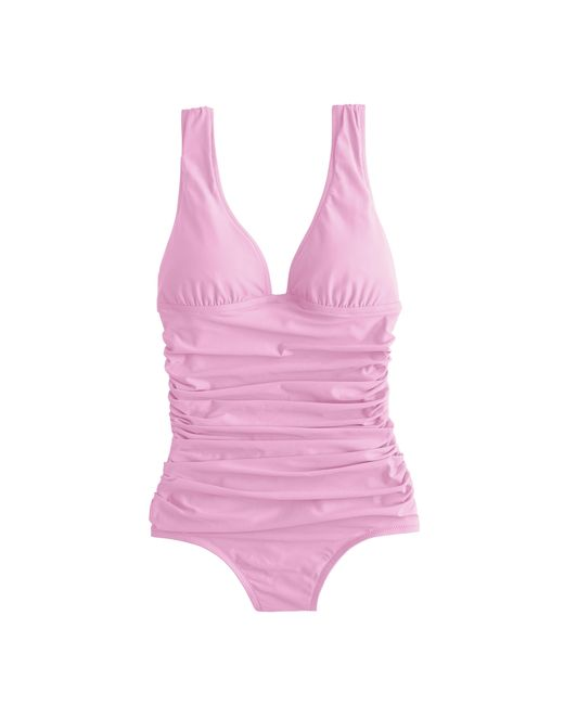 J.Crew | Pink Long Torso Ruched Femme One-piece Swimsuit | Lyst