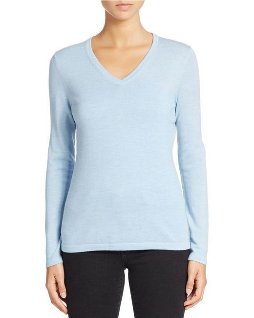 Lord & Taylor | Blue Plus Merino Wool Basic V-neck Sweater | Lyst