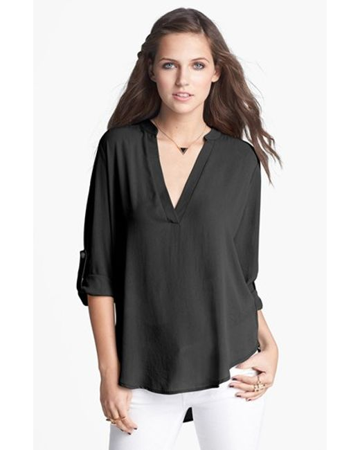 Lush   Black Roll Tab Sleeve Woven Shirt   Lyst