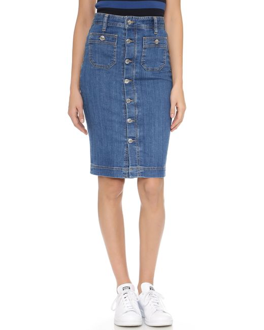 dsquared 178 high waisted skirt in blue lyst
