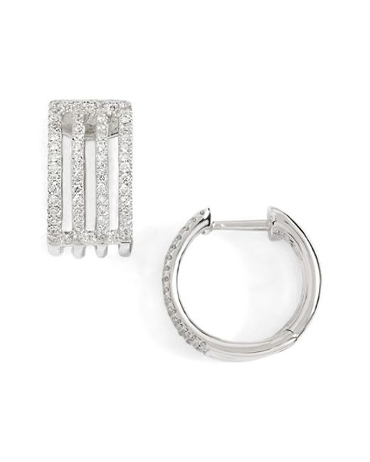 Bony Levy | White 'prism' Diamond Small Hoop Earrings (nordstrom Exclusive) | Lyst