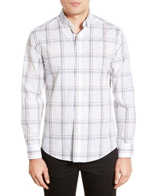Vince camuto slim fit button down collar sport shirt in for Slim fit white button down shirt