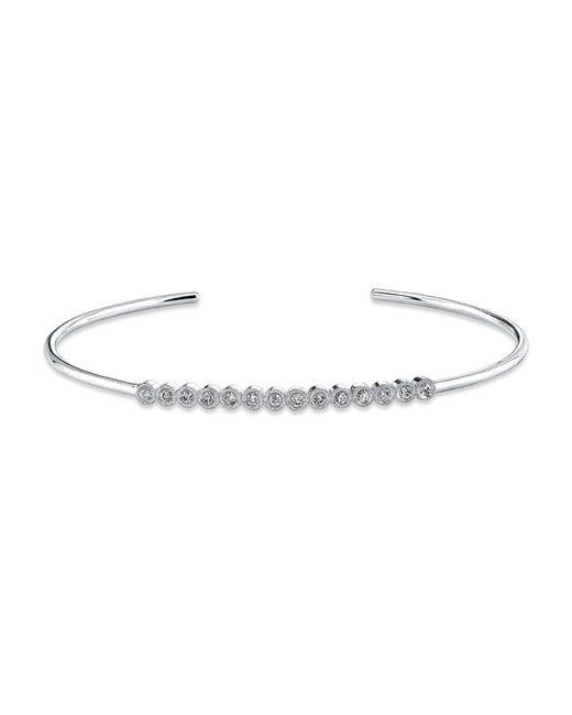 Anne Sisteron - Metallic 14kt White Gold Bezel Set Diamond Cuff - Lyst