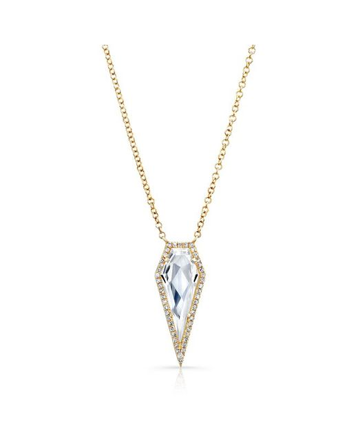Anne Sisteron | 14kt Yellow Gold White Topaz Diamond Spear Necklace | Lyst