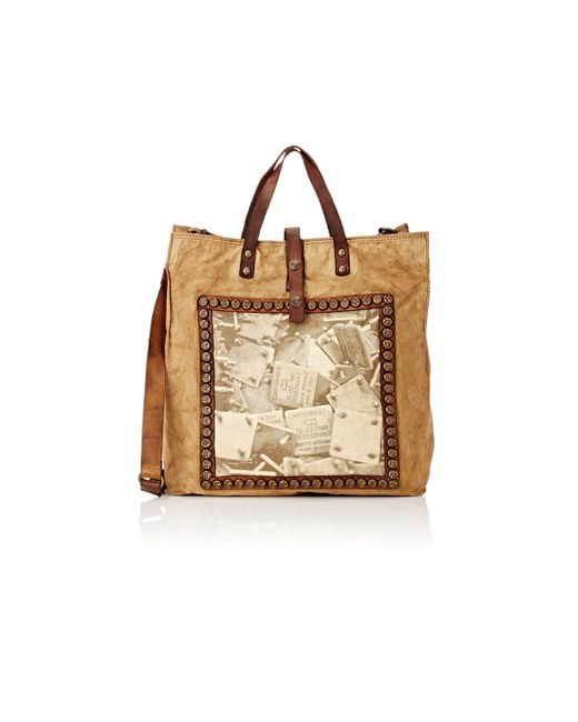 campomaggi women 39 s canvas logo tote in brown green save 34 lyst. Black Bedroom Furniture Sets. Home Design Ideas