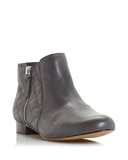 Dune | Gray Quest Quilted Leather Booties | Lyst