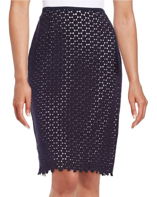 karl lagerfeld lace pencil skirt in blue marine lyst
