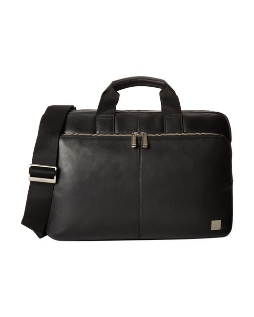 Knomo | Black Newbury Leather Laptop Briefcase for Men | Lyst