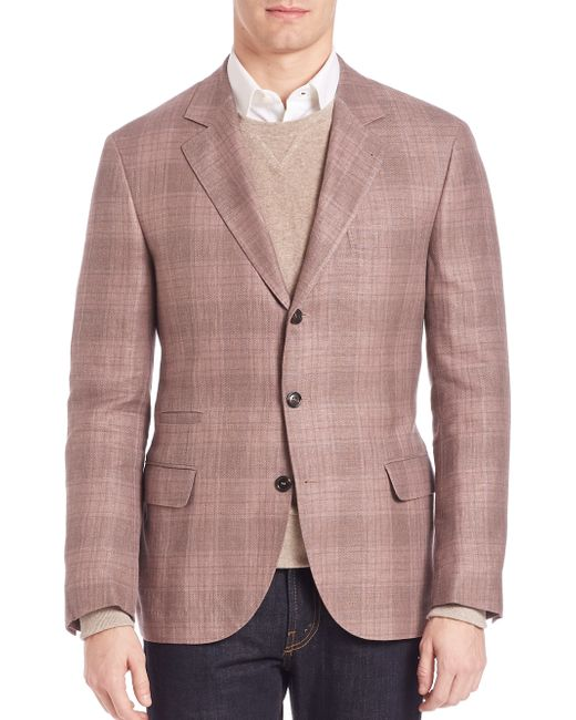 Brunello Cucinelli Plaid Linen Blend Blazer In Purple For