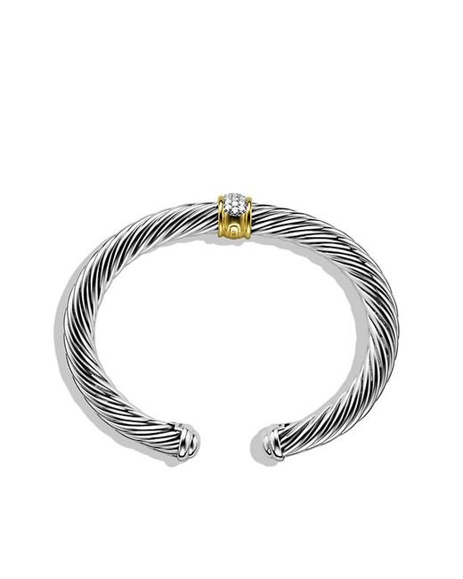 David Yurman | Metallic Cable Classics Bracelet With Diamonds And Gold, 7mm | Lyst