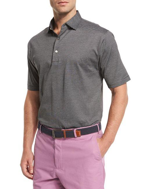 Peter millar fine stripe short sleeve polo shirt in gray for Peter millar polo shirts
