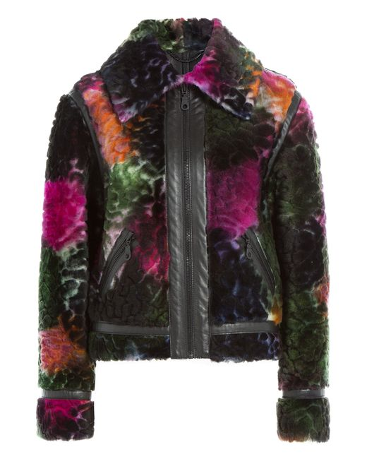 KENZO   Shearling Jacket With Leather - Multicolor   Lyst