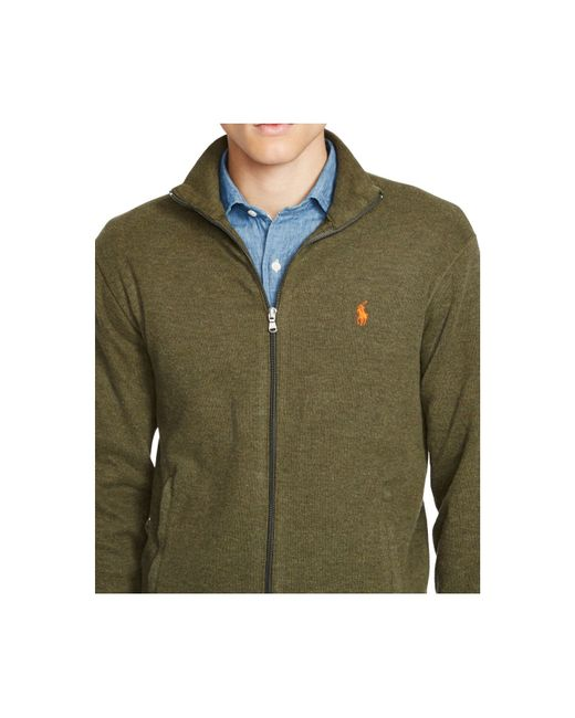 Polo ralph lauren French-rib Full-zip Jacket in Green for Men (Alpine Heather) | Lyst