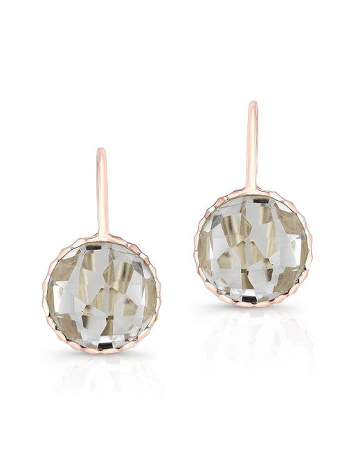Anne Sisteron - Natural 14kt Rose Gold White Topaz Round Earrings - Lyst
