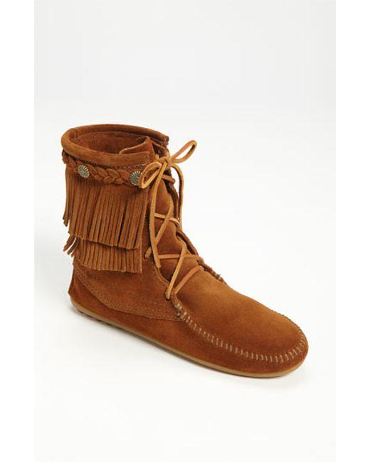 Minnetonka | Brown 'tramper' Double Fringe Moccasin Boot | Lyst