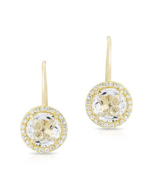 Anne Sisteron - Metallic 14kt Yellow Gold Round White Topaz Diamond Earrings - Lyst
