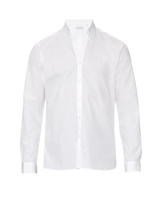 Mathieu jerome button cuff button down collar cotton shirt for White button down collar shirt