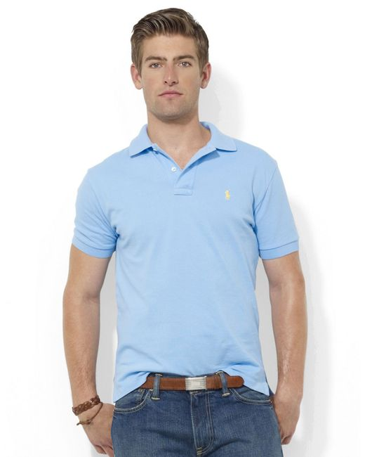 Polo Ralph Lauren | Blue Custom Fit Polo Shirt for Men | Lyst
