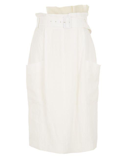 Tibi | White Annelie Linen Paperbag Skirt | Lyst