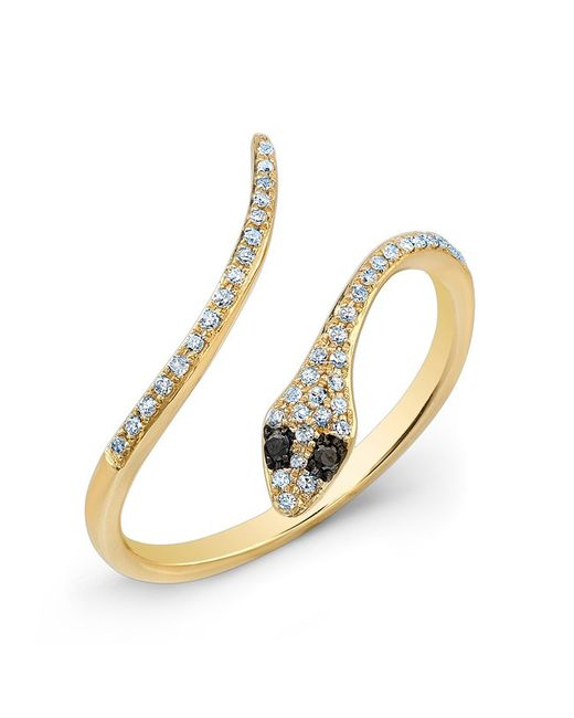 Anne Sisteron - Metallic 14kt Yellow Gold Diamond Slytherin Ring With Black Diamond Eyes - Lyst