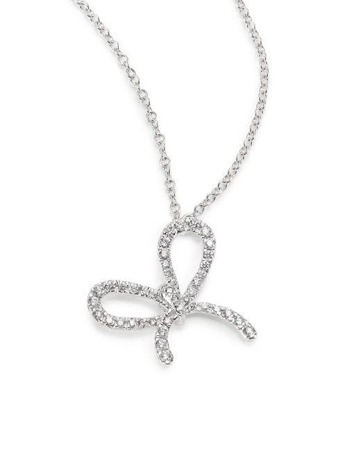 Kwiat | Elements Diamond & 18k White Gold Bow Pendant Necklace | Lyst