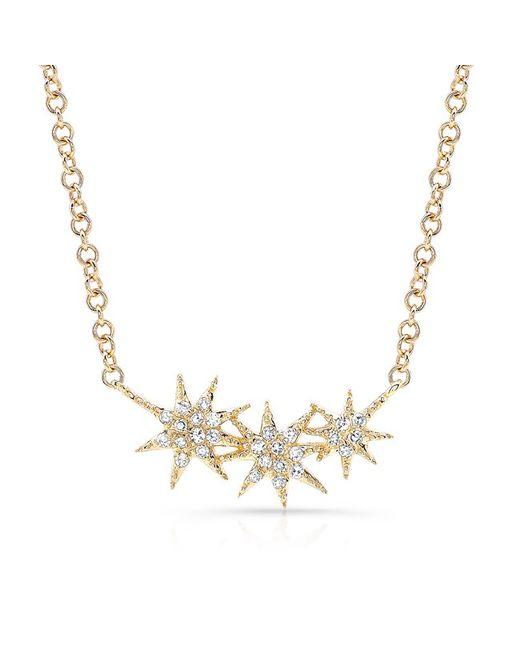 Anne Sisteron - Metallic 14kt Yellow Gold Diamond Triple Starburst Necklace - Lyst