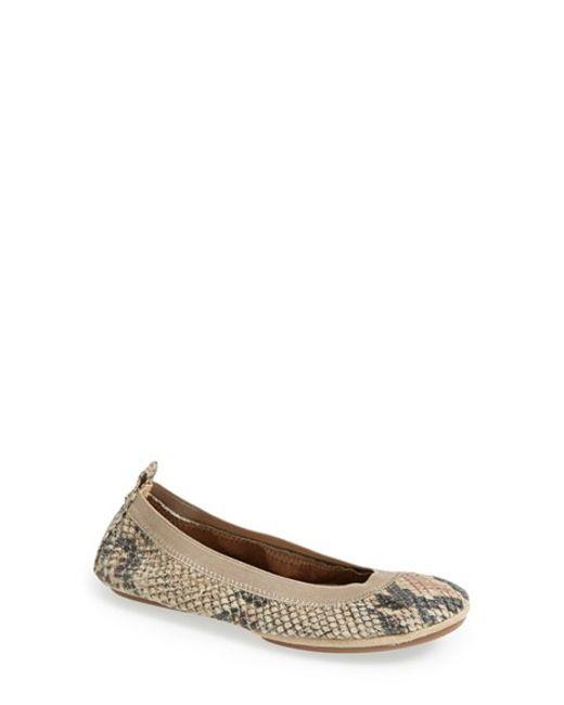 Yosi Samra | Natural 'samara' Snake Embossed Foldable Ballet Flat | Lyst