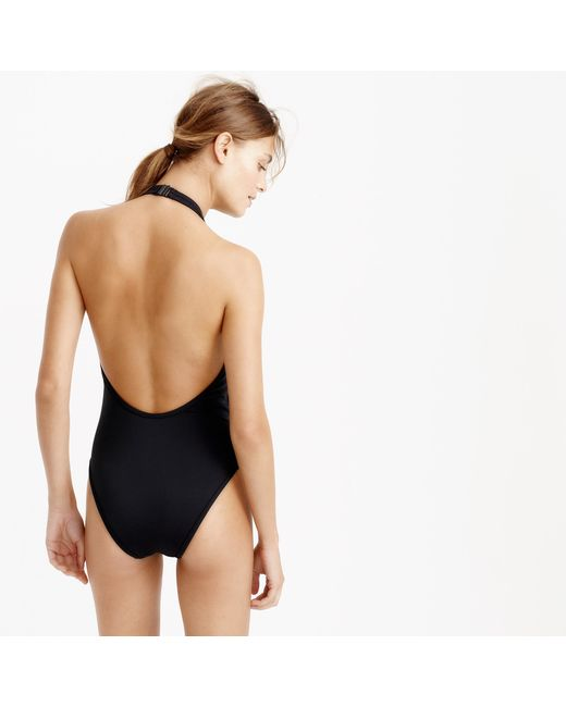 J.Crew | Black Mesh Halter Bikini Top | Lyst