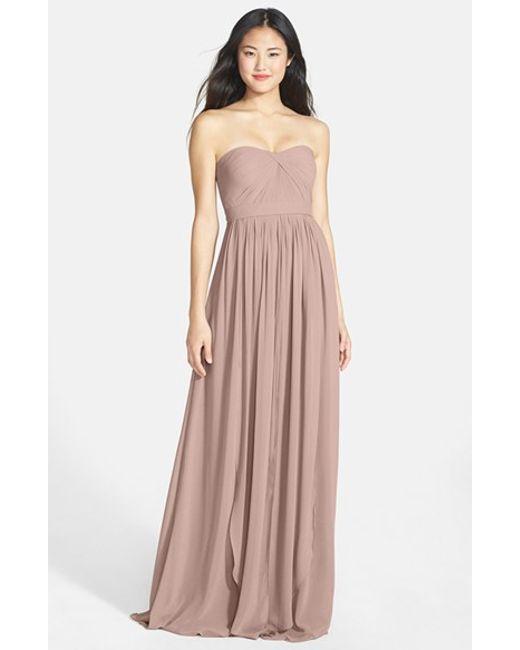 Jenny Yoo | Pink 'aidan' Convertible Strapless Chiffon Gown | Lyst