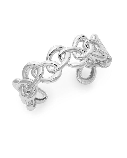 Saks fifth avenue Sterling Silver Oval Link Cuff Bracelet in Silver ...