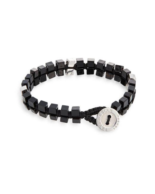 Tateossian | Black Agate Double-cube Macramé Button Bracelet for Men | Lyst