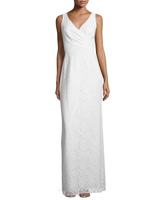 Donna Morgan | White Lark Sleeveless Column Gown | Lyst