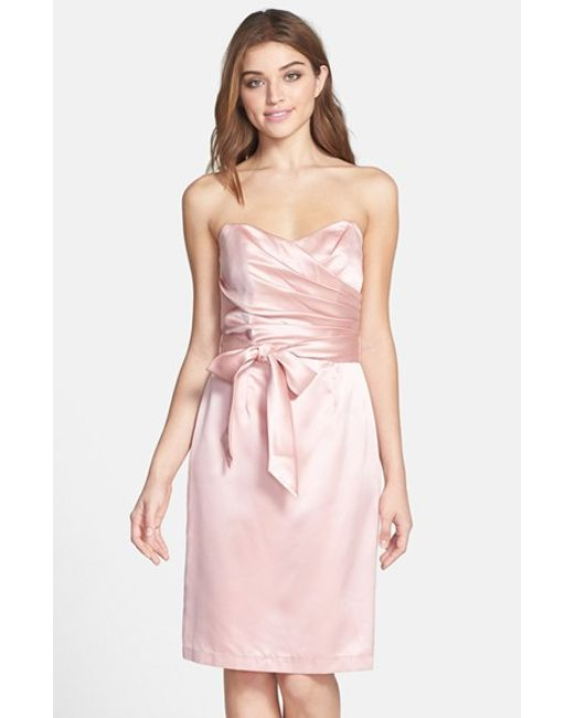 Dessy Collection | Pink Cross Draped Strapless Satin Sheath Dress | Lyst