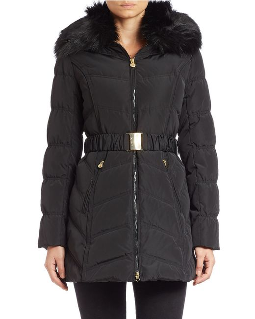 Laundry by Shelli Segal | Black Convertible Faux Fur-trimmed Belted Coat | Lyst