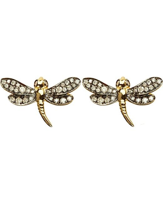 Annoushka | Metallic Love Diamonds 18ct Yellow-gold Dragonfly Earrings | Lyst