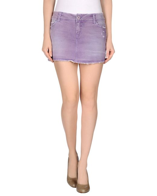 jfour denim skirt in purple lyst