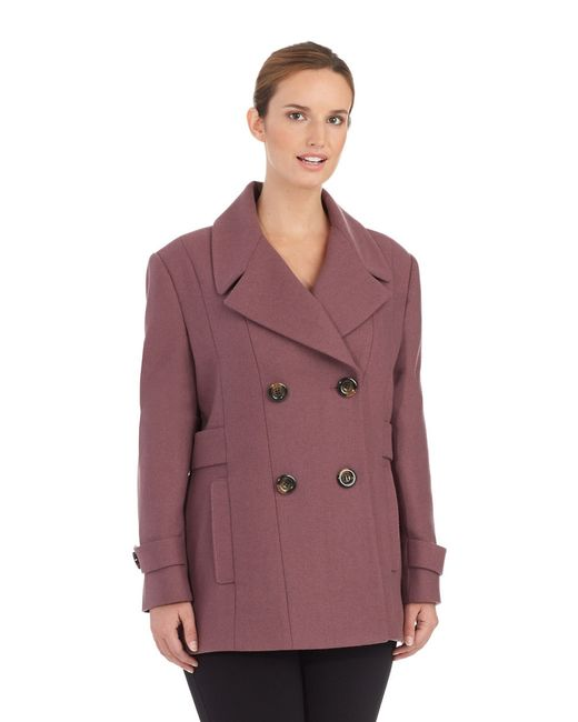 Kenneth Cole Reaction | Purple Double Breasted Peacoat | Lyst